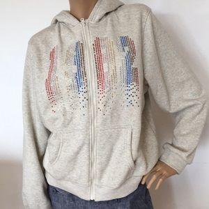 Rhinestone 1982 Gray Fleece Jacket Hoodie  1X 2X
